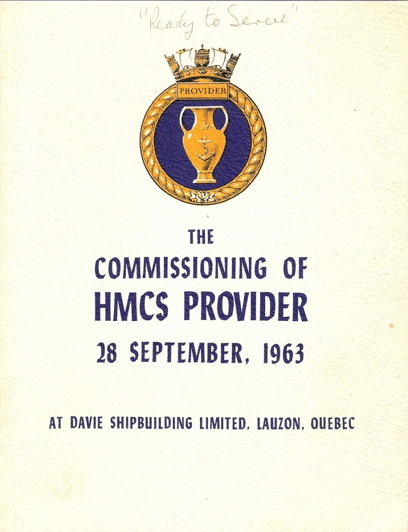 HMCS PROVIDER 508 COMMISSIONING BOOKLET - COVER