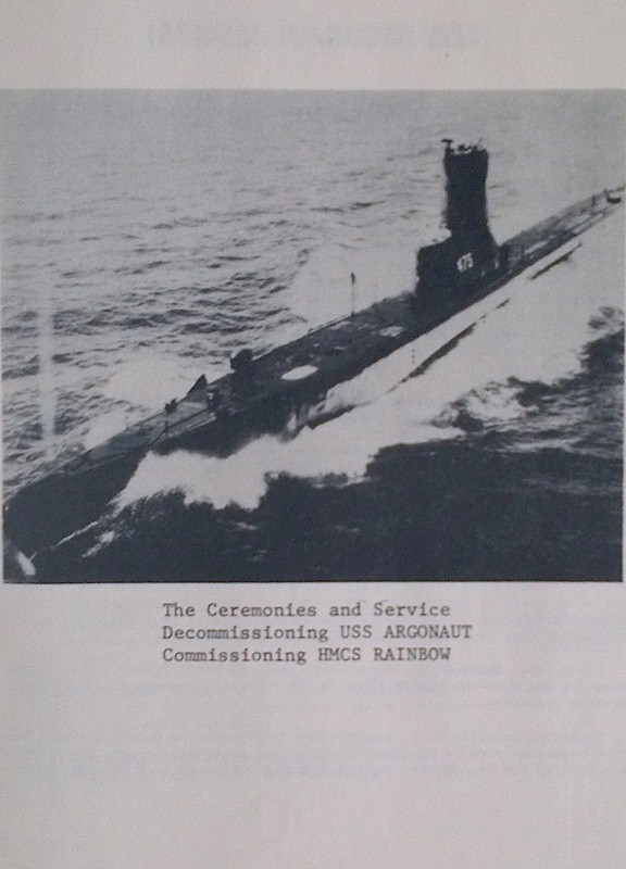 HMCS RAINBOW SS75 COMMISSIONING BOOKLET - PAGE 1