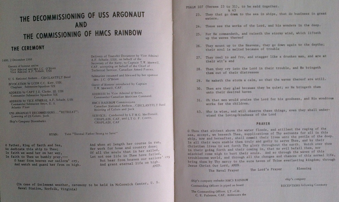 HMCS RAINBOW SS75 COMMISSIONING BOOKLET - PAGE 5 & 6