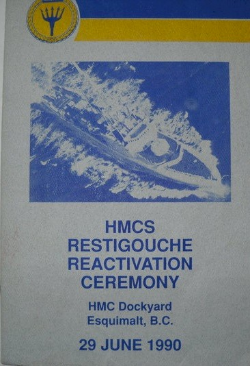 HMCS RESTIGOUCHE RE-ACTIVATION CEREMONY 29 JUN 1990 - COVER