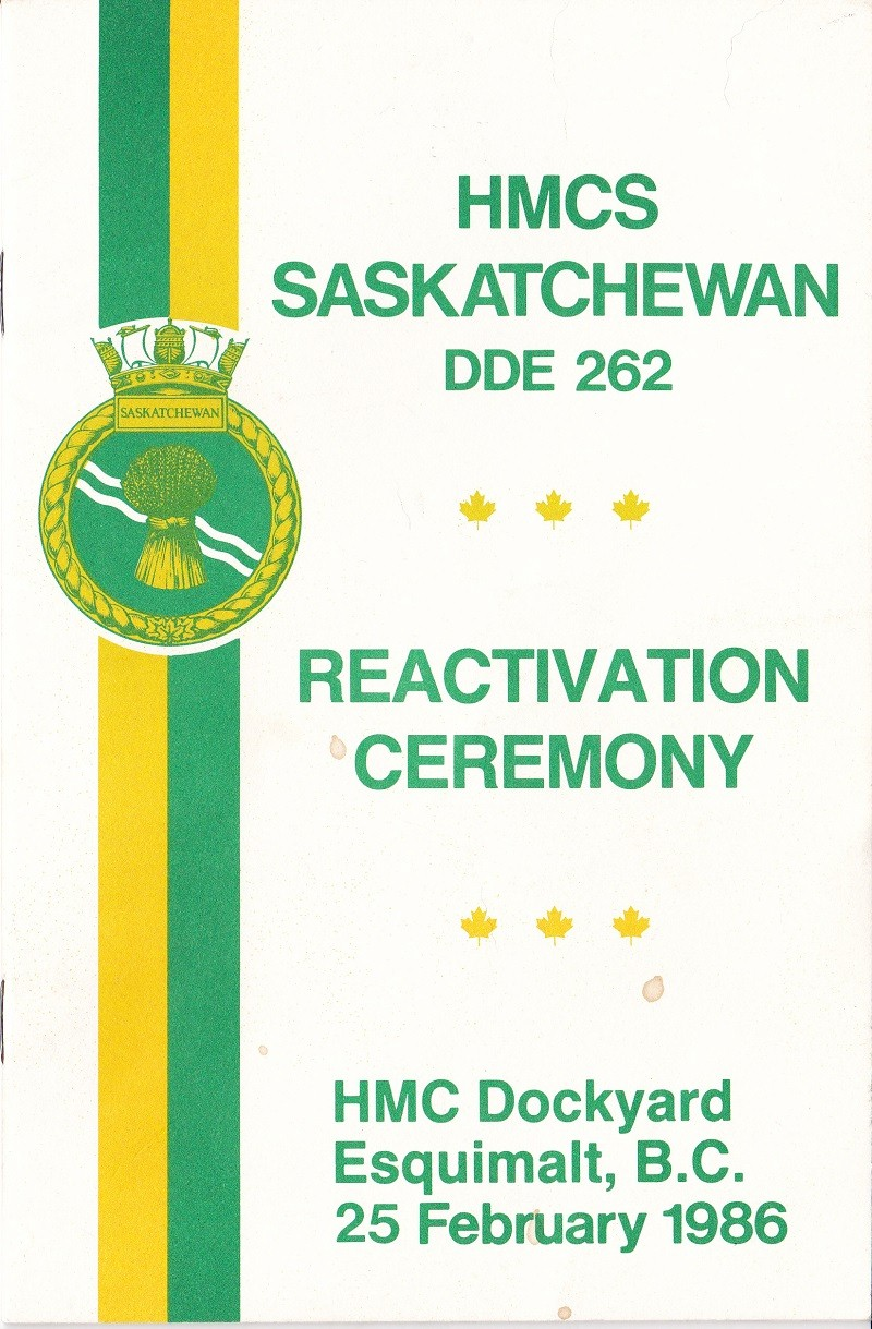 HMCS SASKATCHEWAN 262 REACTIVATION CEREMONY 25 fEB 1986 - COVER