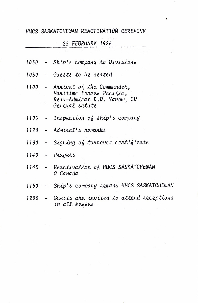 HMCS SASKATCHEWAN 262 REACTIVATION CEREMONY 25 fEB 1986 - PAGE 7