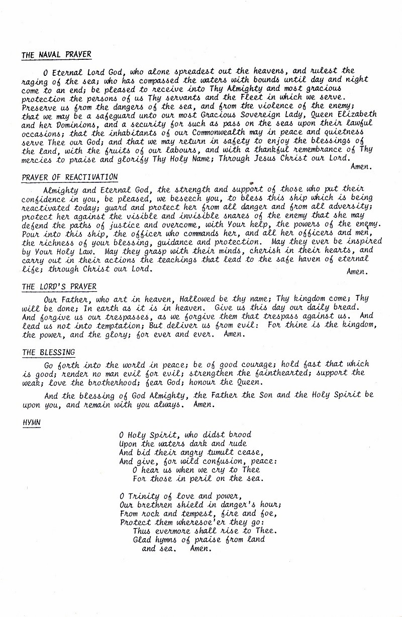 HMCS SASKATCHEWAN 262 REACTIVATION CEREMONY 25 fEB 1986 - PAGE 9