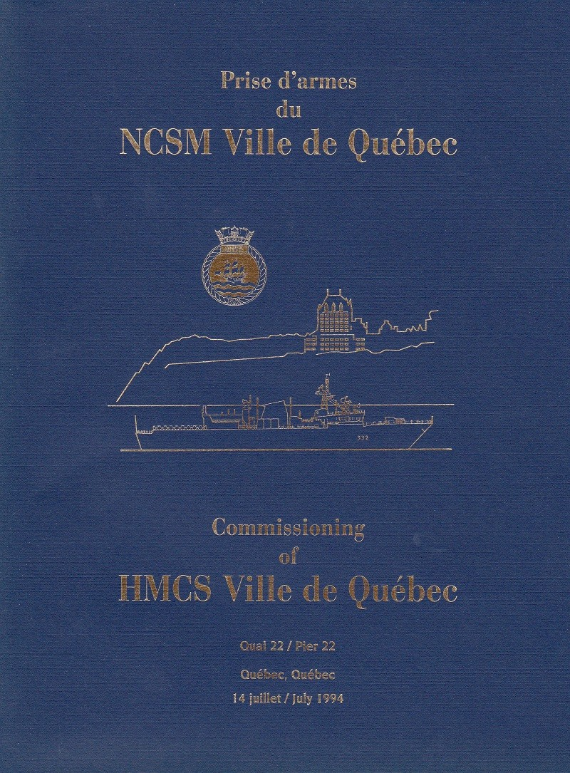 HMCS VILLE DE QUEBEC 332 - COMMISSIONING BOOKLET - Cover