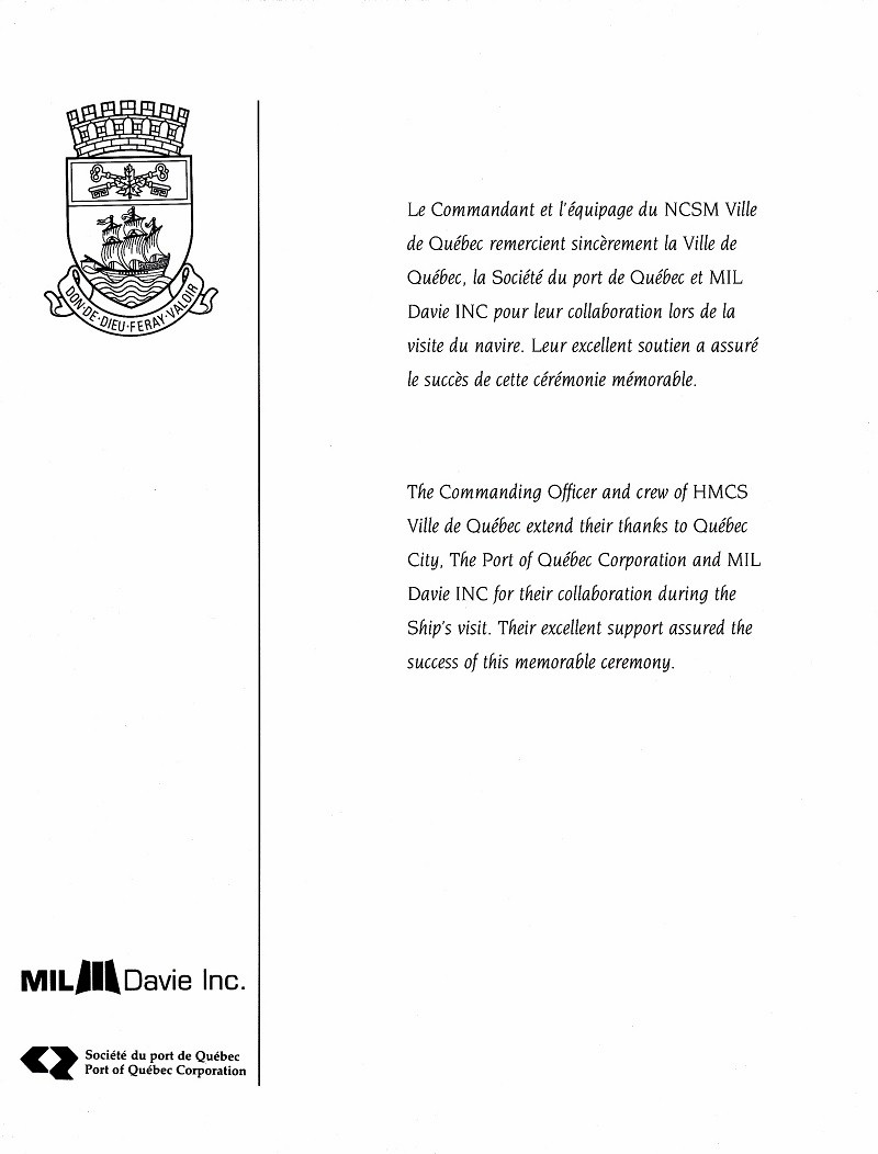 HMCS VILLE DE QUEBEC 332 - COMMISSIONING BOOKLET - Inside Cover