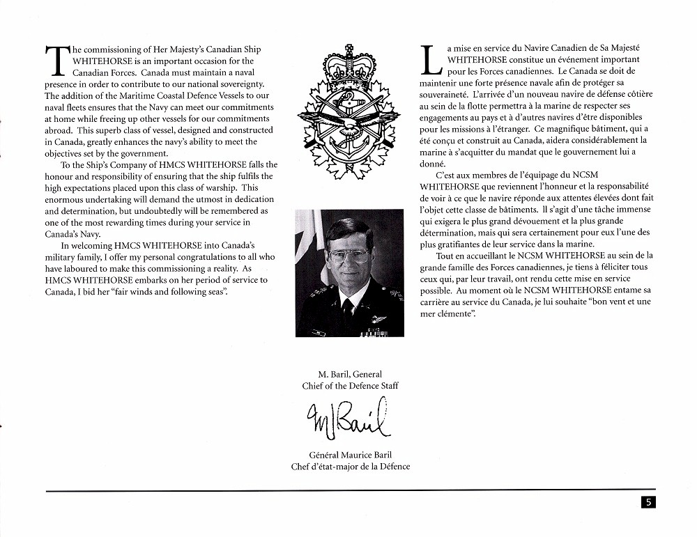 HMCS WHITEHORSE 705 COMMISSIONING BOOKLET - Page 5