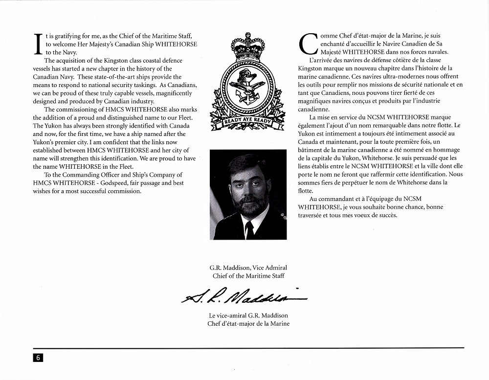 HMCS WHITEHORSE 705 COMMISSIONING BOOKLET - Page 6