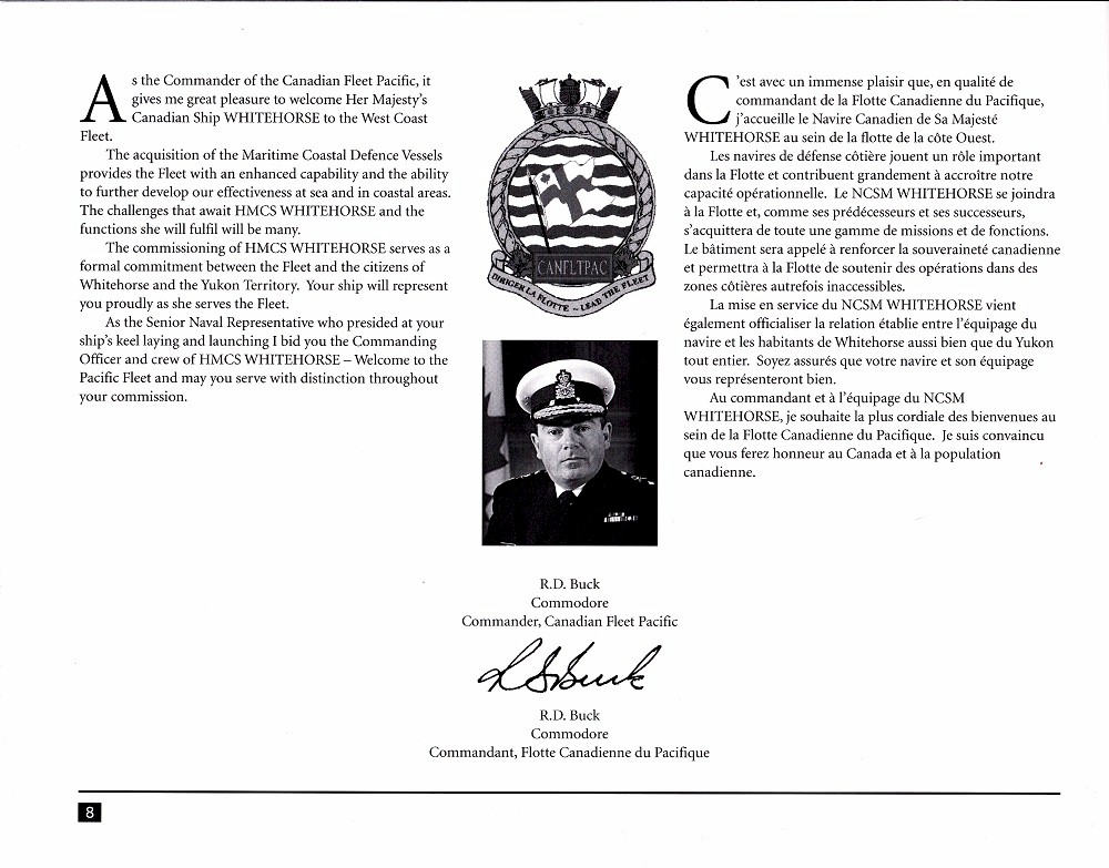 HMCS WHITEHORSE 705 COMMISSIONING BOOKLET - Page 7