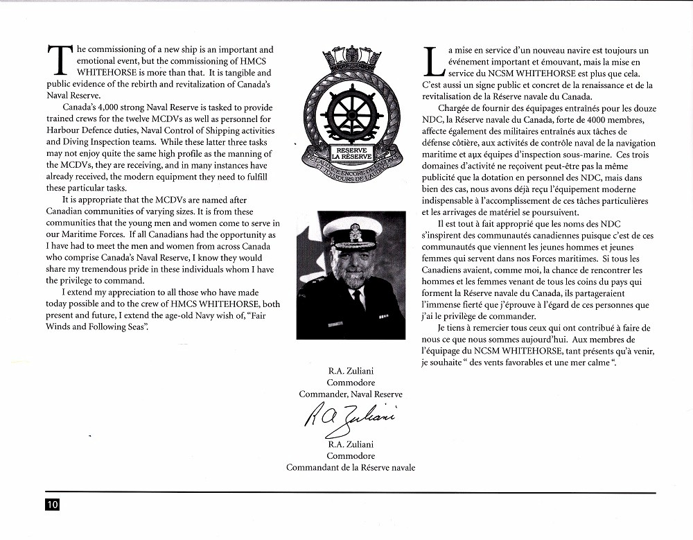 HMCS WHITEHORSE 705 COMMISSIONING BOOKLET - Page 10