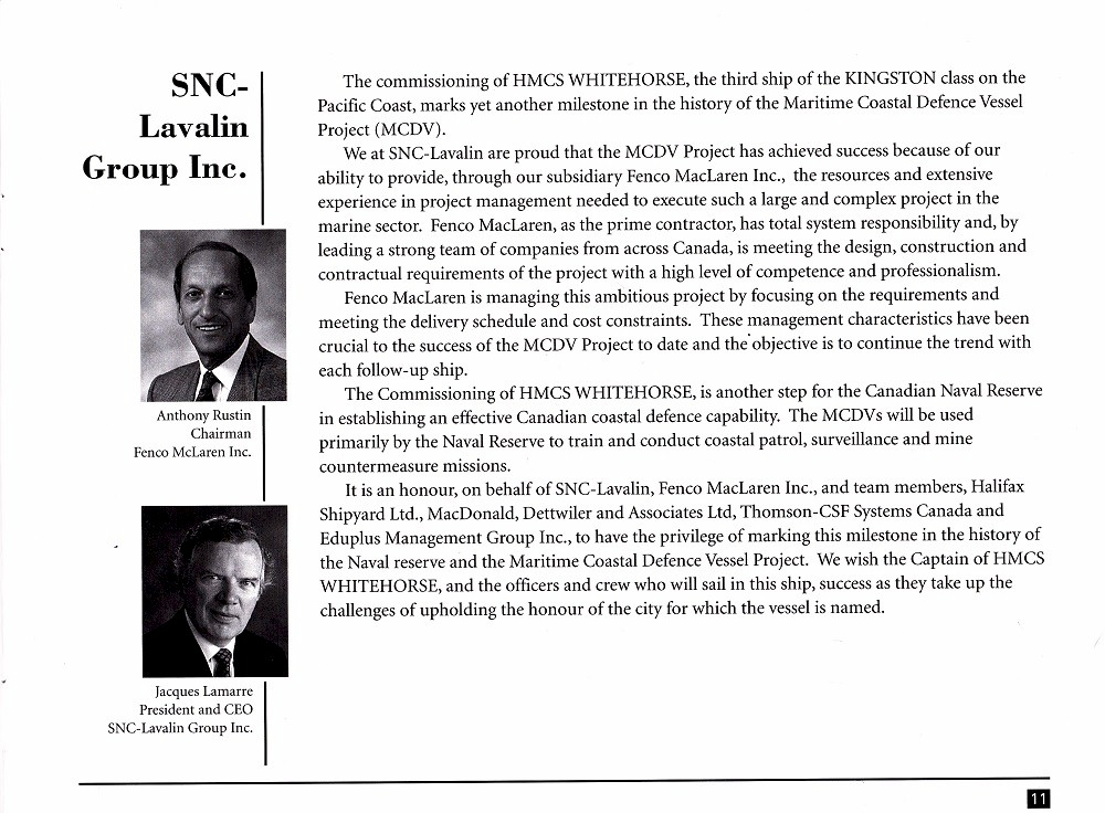 HMCS WHITEHORSE 705 COMMISSIONING BOOKLET - Page 11