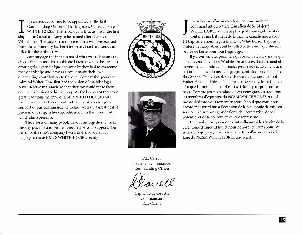 HMCS WHITEHORSE 705 COMMISSIONING BOOKLET - Page 15