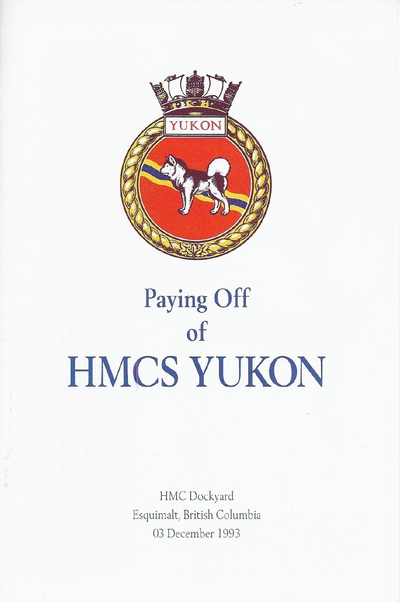 HMCS YUKON 263 PAYING OFF BOOKLET - COVER
