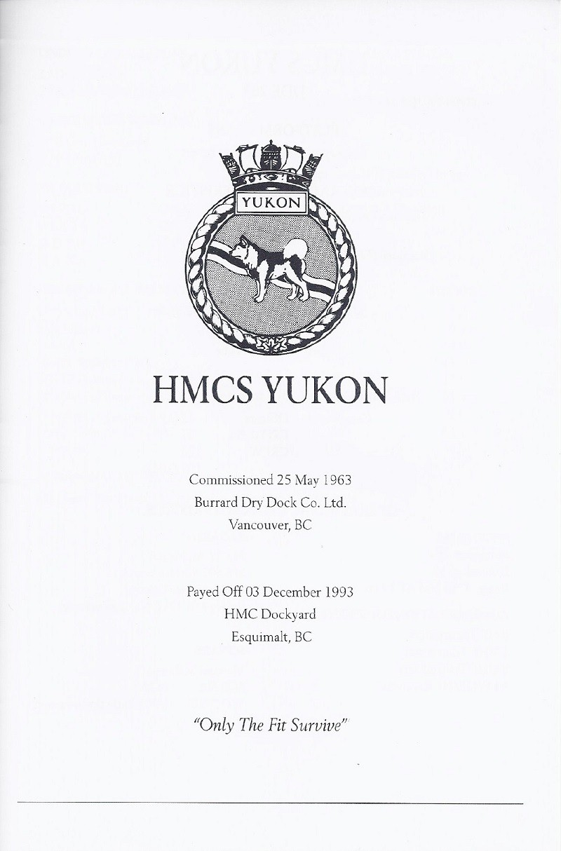 HMCS YUKON 263 PAYING OFF BOOKLET - PAGE 1
