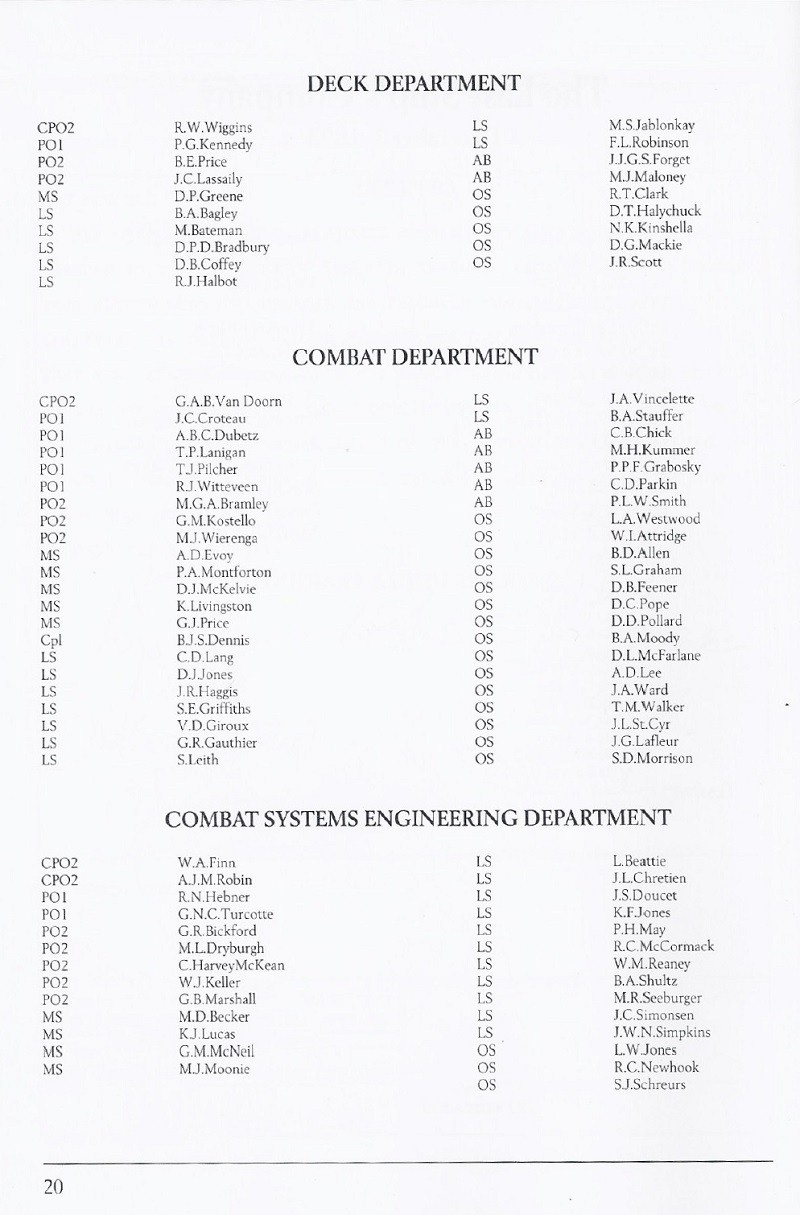 HMCS YUKON 263 PAYING OFF BOOKLET - PAGE 20