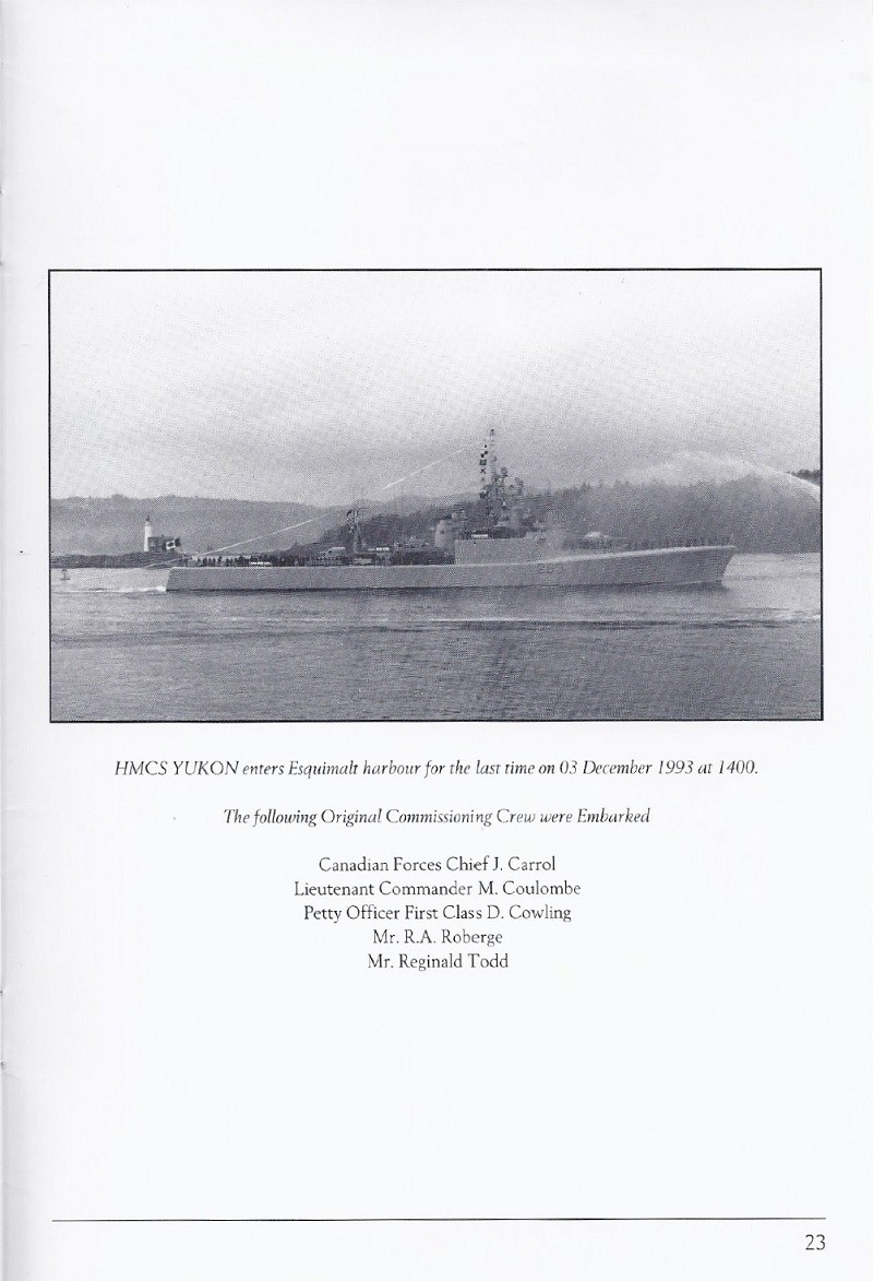 HMCS YUKON 263 PAYING OFF BOOKLET - PAGE 23
